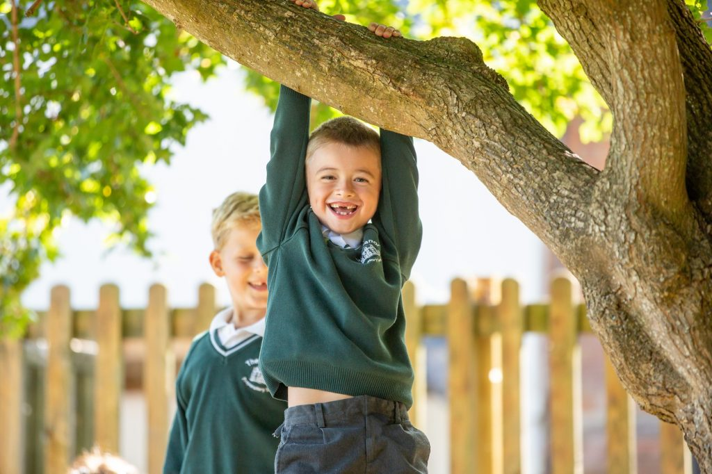 young school boy hanging from a tree